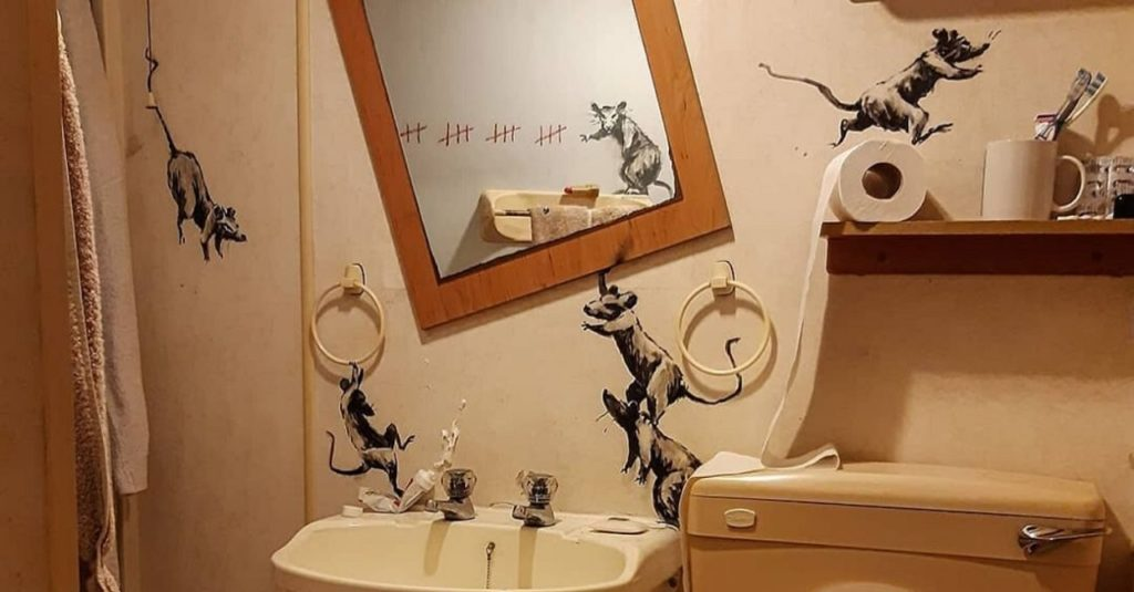 Banksy made his new work in the bathroom of her home