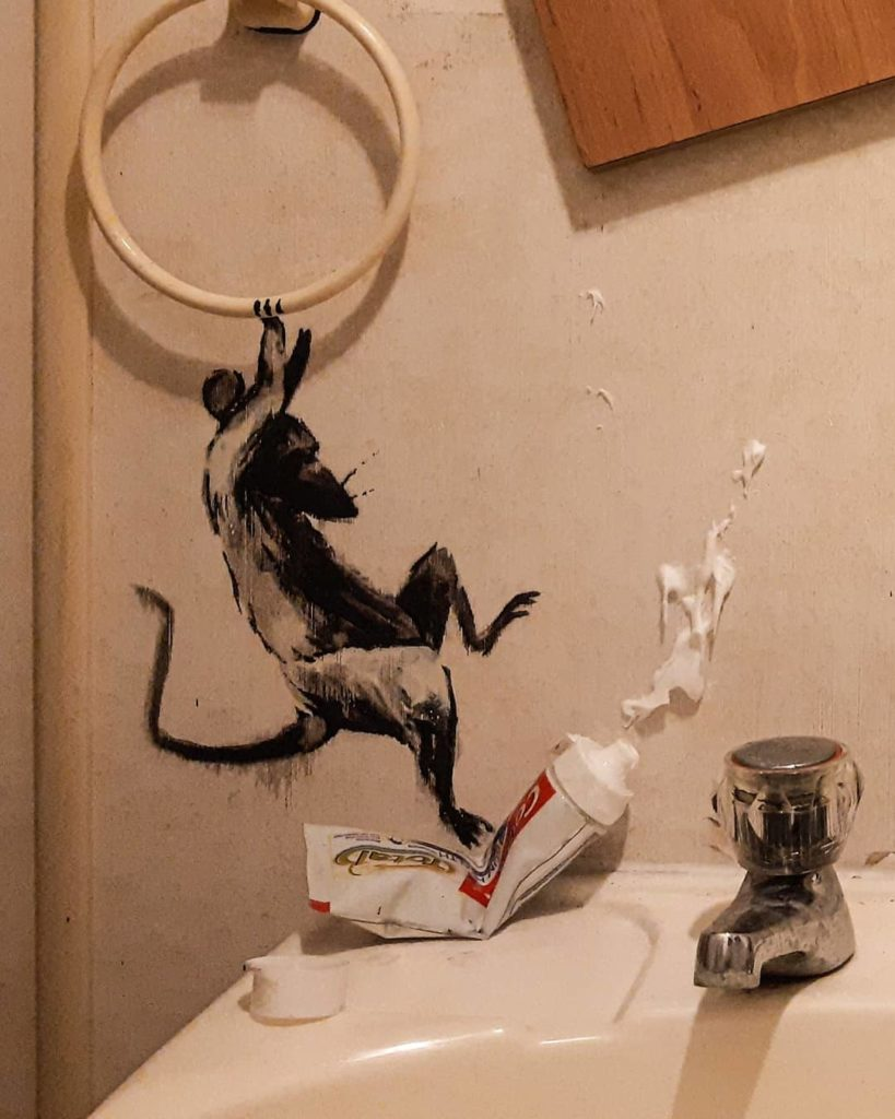 Banksy made his new work in the bathroom of her home4