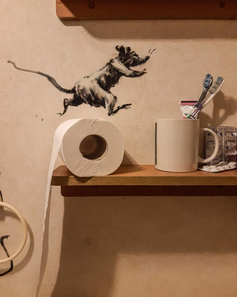 Banksy made his new work in the bathroom of her home5