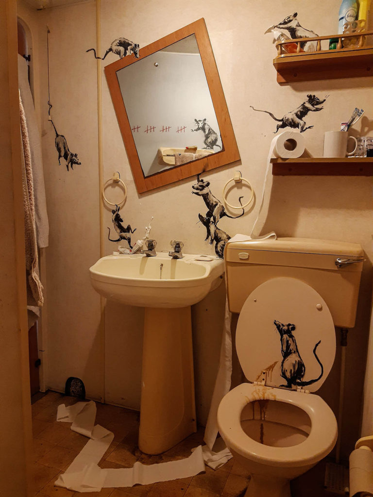 Banksy made his new work in the bathroom of her home6