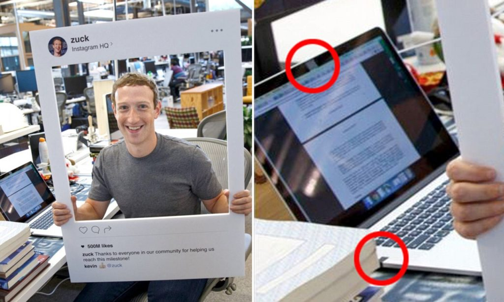 Mark Zuckerberg tapes on his laptop webcam